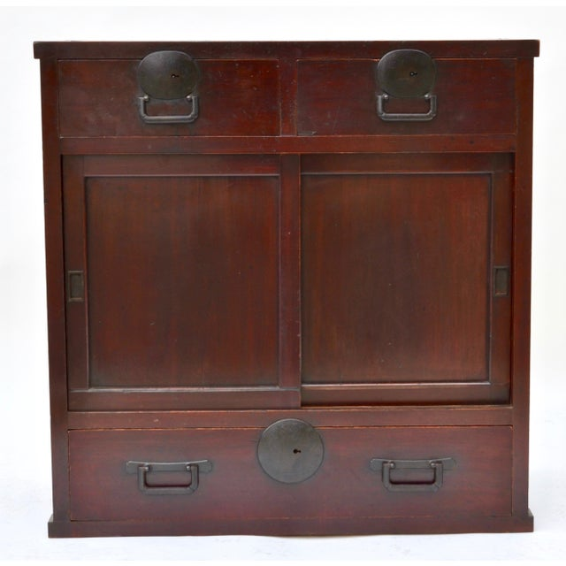 Beautiful Japanese choba tansu (merchant's chest), hardwood with front sliding door panels with a roomy, shelved interior...