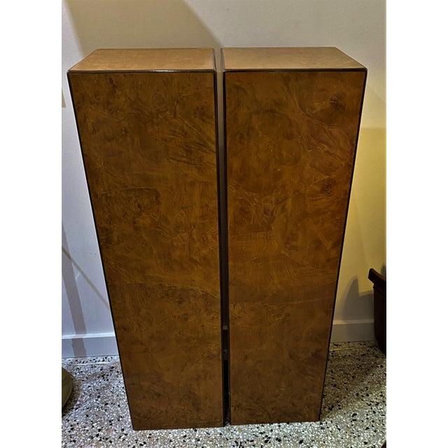 Brown Vintage Drexel Heritage Pedestals Burlwood Restored - a Pair For Sale - Image 8 of 11