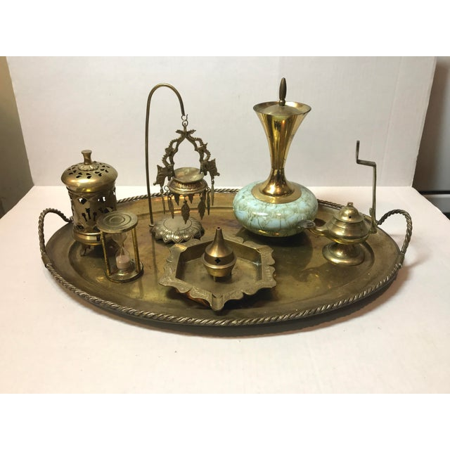 Vintage Indian Brass Trinket Tray Set - 8 Pieces For Sale - Image 13 of 13