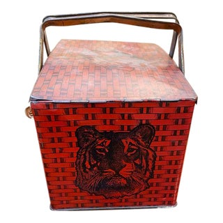 Antique Lithographed Tin Box - Tiger Chewing Tobacco For Sale