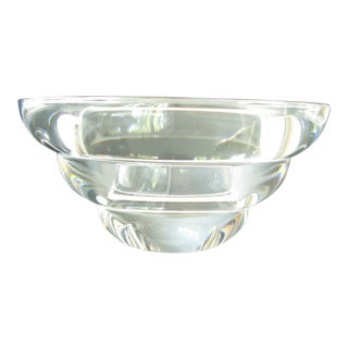 Vintage Kosta Boda Crystal Tiered Bowl Designed and Signed by Anna Ehrner For Sale
