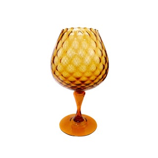 Italian Amber Ripple Edge Glass Goblet Pedestal Footed Snifter Vase For Sale