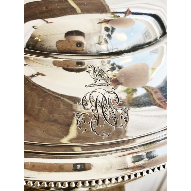 French Antique Christofle Silver Tureen With Armorial Engraving For Sale - Image 3 of 13