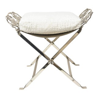 Art Deco Nickeled Silver Over Iron Bench With Cushion For Sale