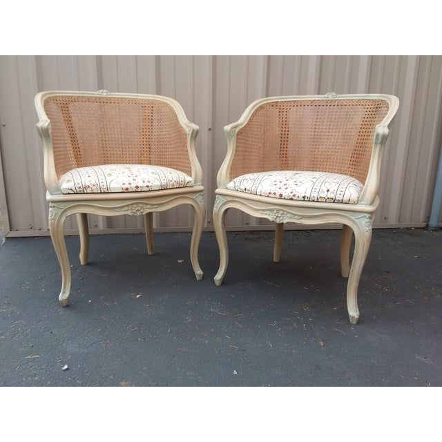 Great pair of caned barrel back chairs with stripped greenish wood finish
