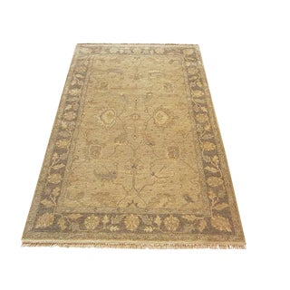 Geometric Indian Handwoven Oushak Rug- 4'1''×5'10'' For Sale