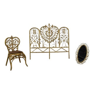 Hollywood Regency Bohemian Bedroom Trio Gold Wicker Headboard Heart Chair & Mirror For Sale