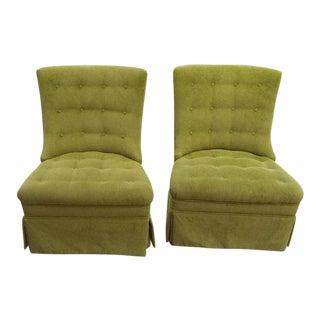 Mid-Century Modern Velvet Slipper Chairs - a Pair For Sale