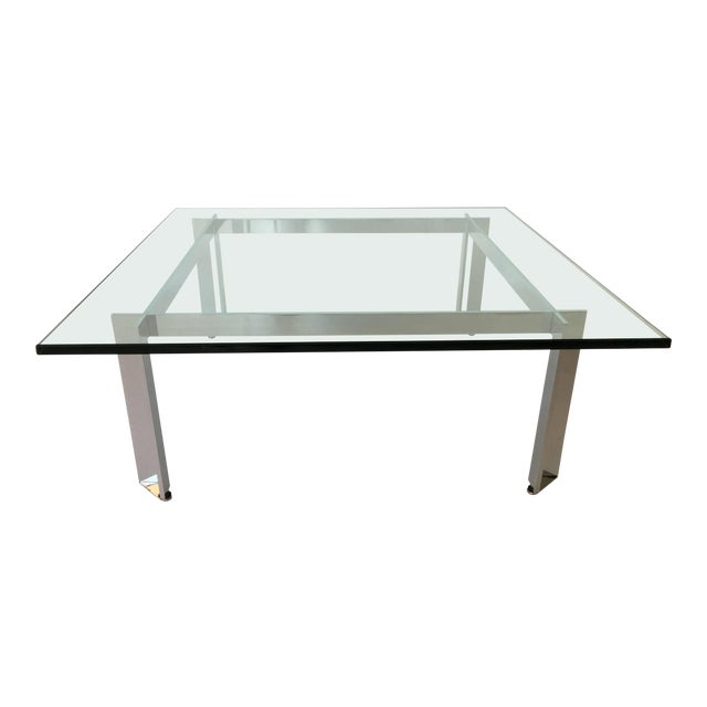 Modernist Square Chrome and Glass Coffee Table For Sale