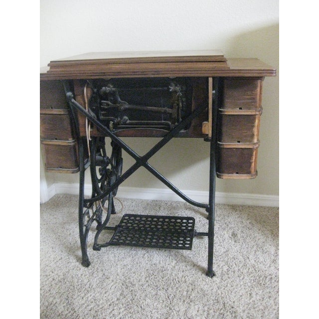 Cabinet With Original Sewing Machine For Sale - Image 4 of 10