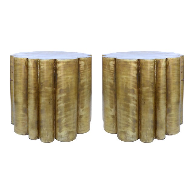 Scalloped Brass Finish Side Tables - a Pair - Image 1 of 11