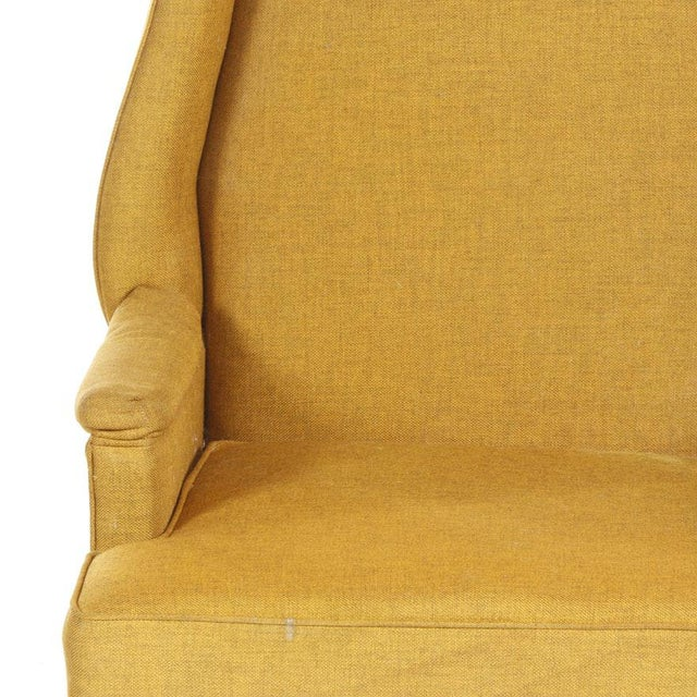 Vintage Mid-Century Porter's Chair in Mustard Wool Upholstery on a Limed Wood Base For Sale - Image 9 of 13
