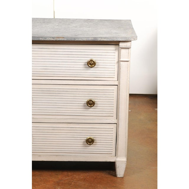 Mid 19th Century Belgian 1850s Gustavian Style Three-Drawer Painted Commode with Faux-Marble Top For Sale - Image 5 of 13