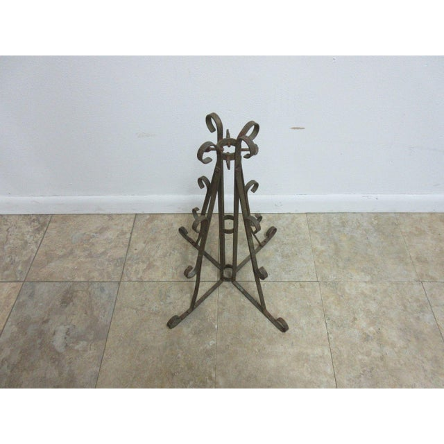 Antique Wrought Iron Scroll Flag Pole Music Stand Ceremonial For Sale In Philadelphia - Image 6 of 11