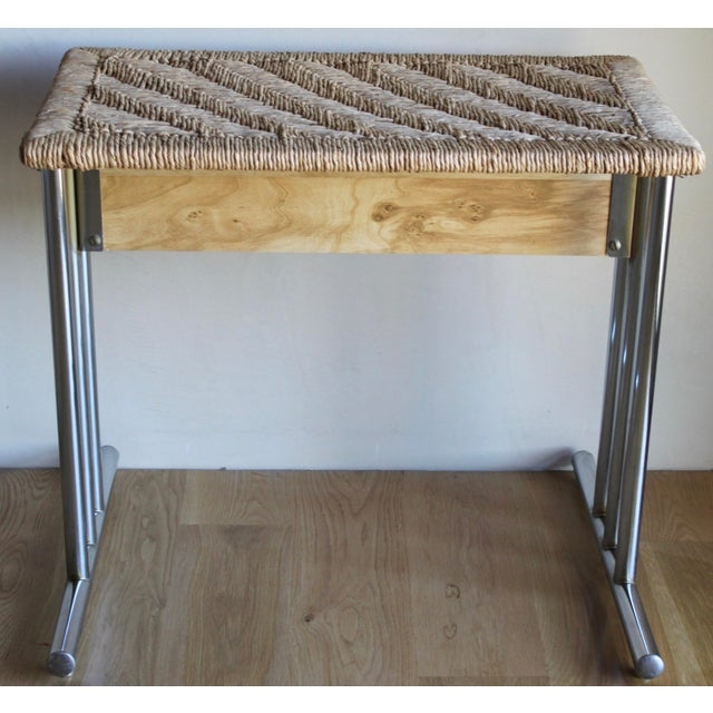 1960s Mid Century Modern Chromcraft Woven Rush Rattan & Chrome Dining Table For Sale - Image 5 of 10