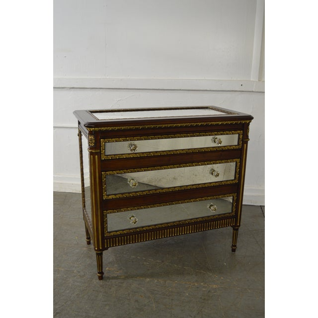 Store Item #: 15189-fw EJ Victor Julia Gray Collection Mirrored Louis XVI Style Chest Commode AGE/COUNTRY OF ORIGIN:...