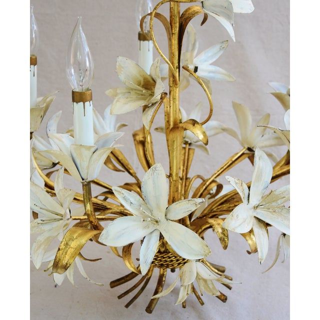 Gold Vintage Five-Arm/Light Italian Gold Gilt Lily Tole Chandelier For Sale - Image 8 of 11