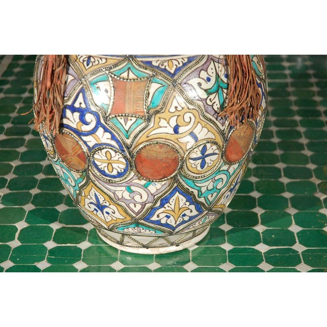 Islamic Antique Moroccan Ceramic Jar With Lid For Sale - Image 3 of 7