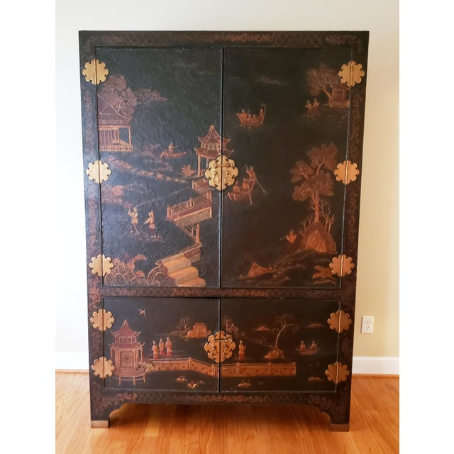 Stunning Asian inspired Maitland-Smith large screen TV entertainment center. This is a terrific accent piece but does need...