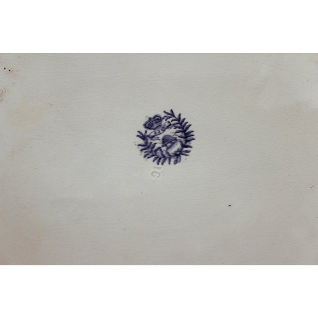 Blue Antique Staffordshire Blue Willow Platter Large Server Platter For Sale - Image 8 of 11