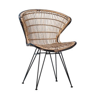 Rattan & Black Scoop Dining Chair For Sale