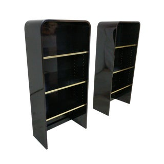 High Gloss Mid Century Pair of Wall Shelves With Brass Accents, Pace Style For Sale