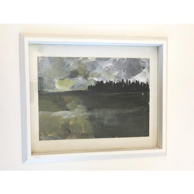 Modern Acrylic on Paper Framed Landscape For Sale - Image 3 of 5