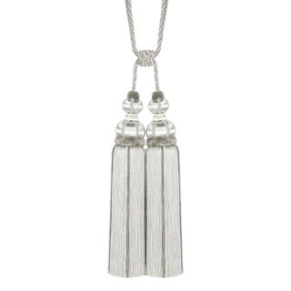 "Platinum Double Tassel Tieback With Cut Ruche- Height 17"" For Sale"