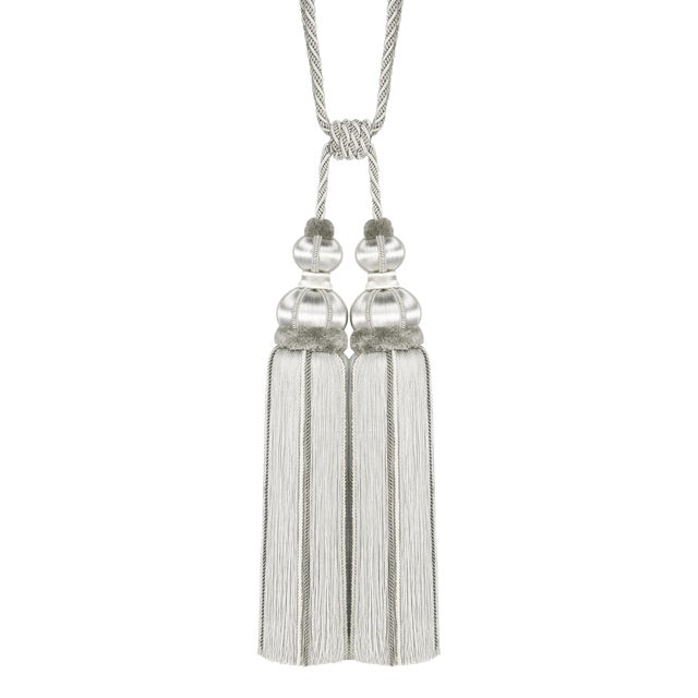 """Platinum Double Tassel Tieback With Cut Ruche- Height 17"""" For Sale"""