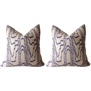 """Contemporary Kelly Wearstler Blue """"Slate"""" Swirl Linen Pillow Covers 22""""x 22"""" - a Pair For Sale"""