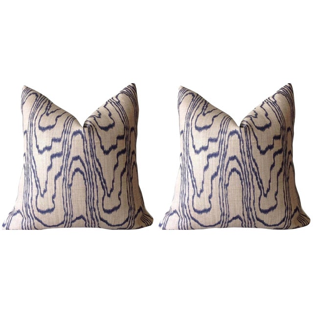 """Contemporary """"Slate Blue"""" Swirl Linen Pillow Covers - a Pair For Sale"""