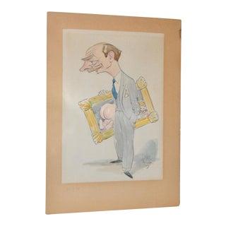 Humorous Original Cartoon Illustration c.1940s For Sale