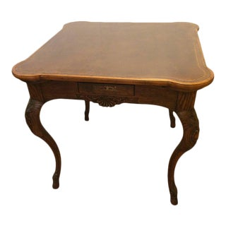 Baker Furniture Tooled Leather Game Table For Sale