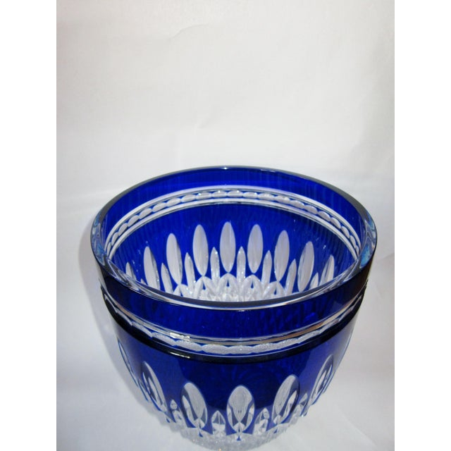 Waterford Crystal Vintage Waterford Clarendon Cobalt Blue Cut to Clear Cased Crystal Ice Bucket For Sale - Image 4 of 11