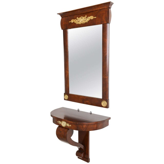 19th Century Austrian, Biedermeier Wall-Hung Demi lune Console with Mirror For Sale - Image 11 of 11