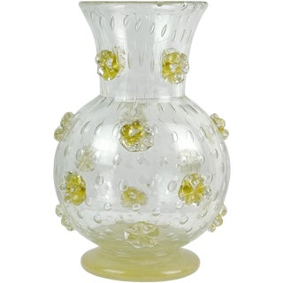 Ercole Barovier Murano 1942 a Stelle Gold Stars Italian Art Glass Flower Vase For Sale