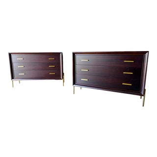 Pair of Ebonized Mahogany Brass Cabinets For Sale