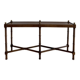 1970s Regency Brandt Faux Bamboo Console Table For Sale