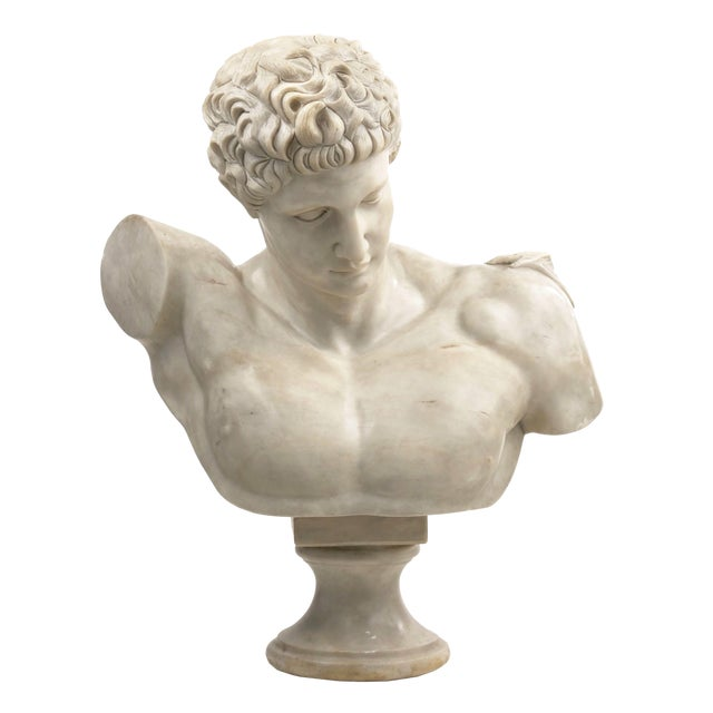 Classical Marble Bust of Hermes Holding Dionysus After the Antique by Praxiteles For Sale