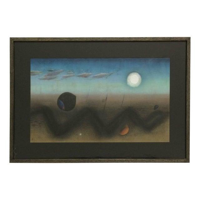 Surrealist Pastel Landscape For Sale