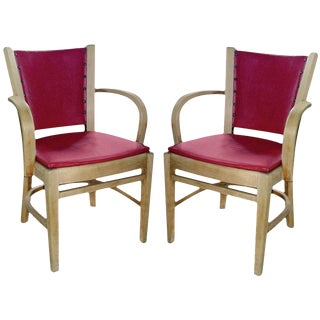 One Pair of Art Deco Bent Wood Arm Chairs For Sale