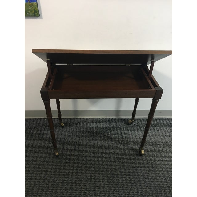 1960s Chinoiserie Faux Bamboo Table With Tilt Top For Sale - Image 4 of 10