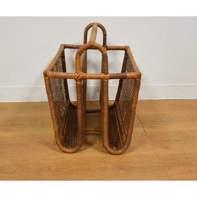 Bamboo & Rattan Magazine Rack For Sale - Image 4 of 8