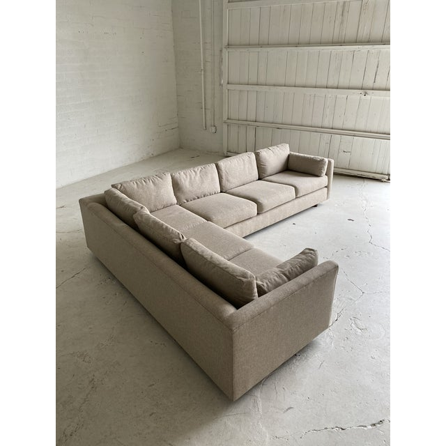 Tan Mid Century Newly Upholstered 2-Piece Tan Sectional For Sale - Image 8 of 11