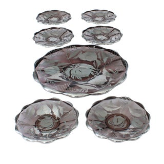 Amethyst Glass with Silver Overlay Dessert Set For Sale