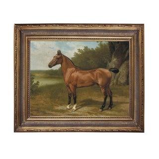 Horse in Landscape Framed Oil Painting Print on Canvas in Antiqued Gold Frame For Sale