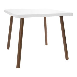 "Tippy Toe Small Square 23.5"" Kids Table in Walnut With White Finish Accent For Sale"