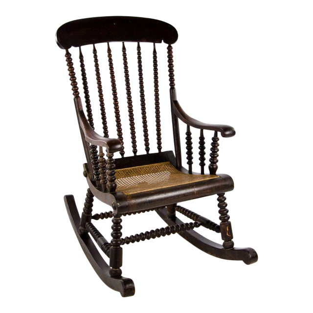 Late 19th Century Vintage Victorian Bobbin Turned and Caned Seat Rocking Chair For Sale