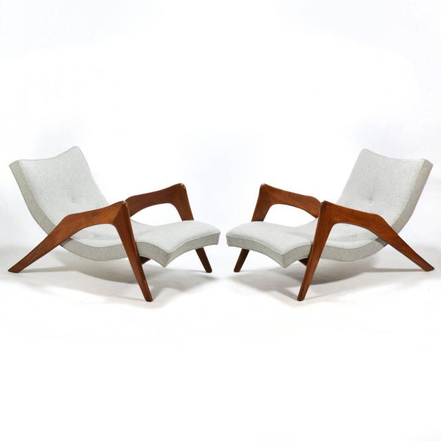 Gray Adrian Pearsall Pair of Crescent Lounge Chairs and Ottomans For Sale - Image 8 of 10