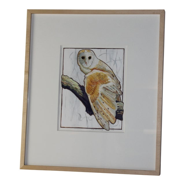Owl Watercolor Painting - Image 1 of 4